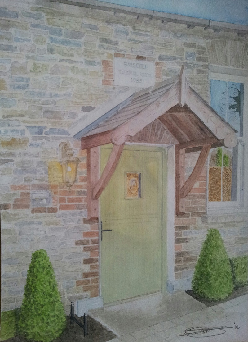 Fine Art Watercolour Commission of Briscolli National School, Ireland By Darren Graham of Ephraim Art Studio