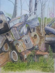 Fine Art Watercolour Junkyard Kings By Darren Graham of Ephraim Art Studio