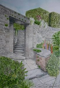 Fine Art Watercolour Of Lutyens Garden Steps At Heywood House, Abbeyleix, County Laois, Ireland By Darren Graham of Ephraim Art Studio