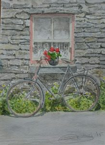 "Fine Art Watercolour of ""High Nelly"" Bicycle By Darren Graham of Ephraim Art Studio"