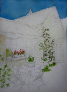 Detailed Fine Art Watercolour of A Brittany House In Progress 2 By Darren Graham of Ephraim Art Studio