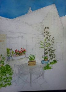 Detailed Fine Art Watercolour of A Brittany House In Progress 3 By Darren Graham of Ephraim Art Studio