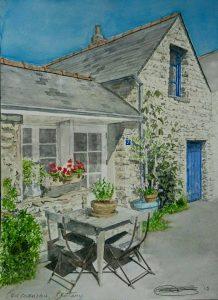 Detailed Fine Art Watercolour of A Brittany House By Darren Graham of Ephraim Art Studio