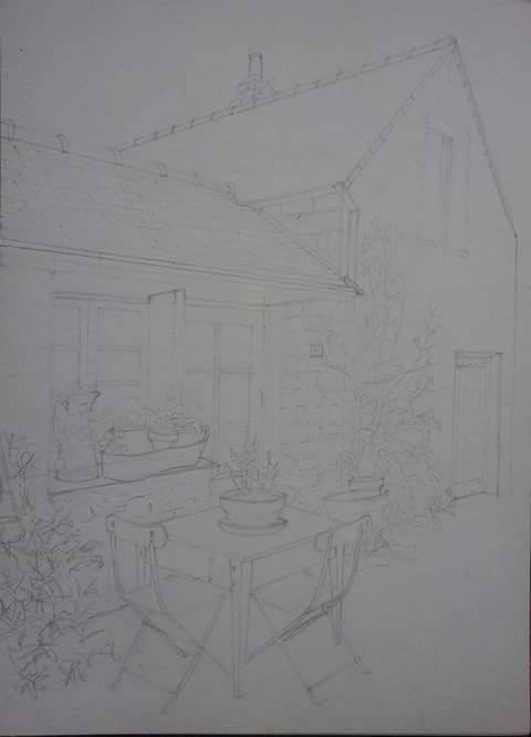 Line Drawing For A Detailed Fine Art Watercolour of A Brittany House By Darren Graham of Ephraim Art Studio