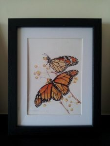 Framed Fine Art Watercolour of Monarch Butterflies By Darren Graham of Ephraim Art Studio