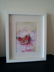 Framed Fine Art Watercolour of A Peacock Butterfly By Darren Graham of Ephraim Art Studio