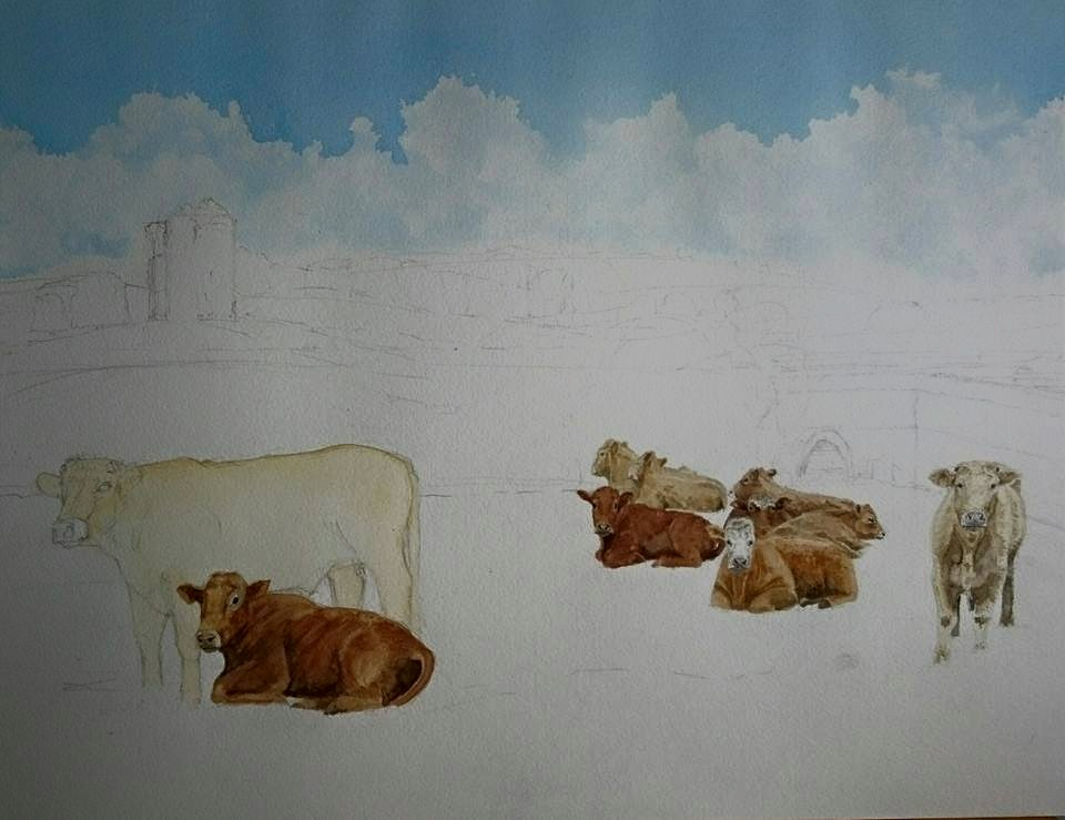 Fine Art Watercolour Landscape With Cows In Progress 2 By Darren Graham of Ephraim Art Studio