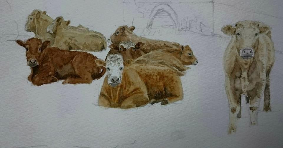 Detailed Fine Art Watercolour Landscape With Cows In Progress By Darren Graham of Ephraim Art Studio