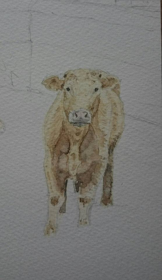 Detail Of Progress From Of Fine Art Watercolour Landscape With Cows By Darren Graham of Ephraim Art Studio