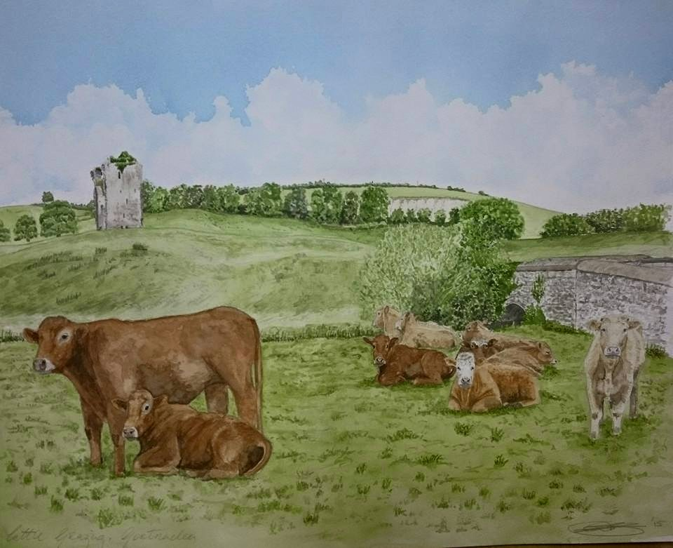 Fine Art Watercolour Landscape With Cows By Darren Graham of Ephraim Art Studio