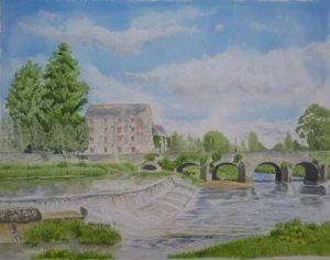 Fine Art Watercolour Commission of Castletown Weir By Darren Graham of Ephraim Art Studio