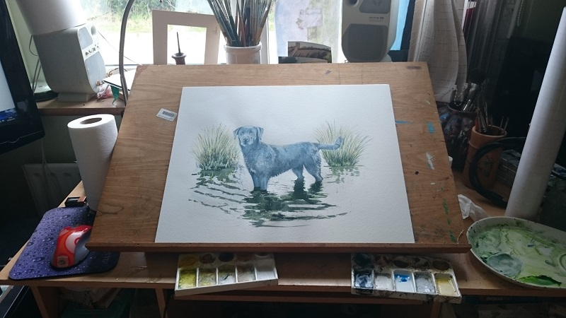 Painting Table Of The Artist, Darren Graham, of Ephraim Art Studio. Darren Was Commissioned To Do The Detailed Fine Art Watercolour Dog Portrait.