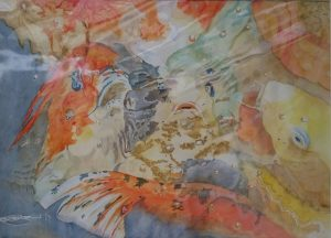 "Abstract Fine Art Watercolour of 'Feeding Time At The Koi Pond"" By Darren Graham of Ephraim Art Studio"