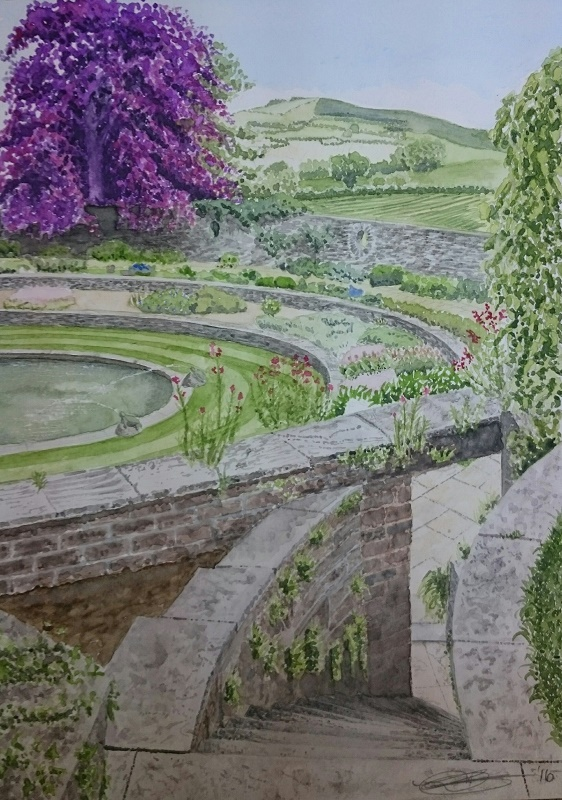 Fine Art Watercolour Of Lutyens Garden Steps Descending At Heywood House, Abbeyleix, County Laois. By Darren Graham of Ephraim Art Studio